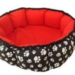 Round Red Heated Cat Bed